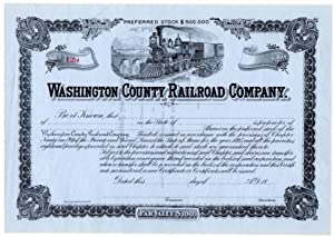 Washington County Railroad Company Stock Certificate: Number