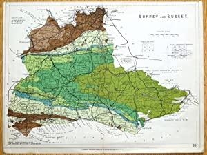 SURREY & SUSSEX, E.Stanford Original Antique Geological Map 1913