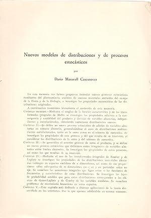 NUEVOS MODELOS DE DISTRIBUCIONES Y DE PROCESOS: Dario Maravall Casesnoves