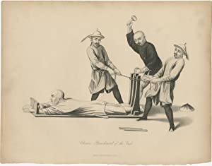 Antique Print of Chinese Punishment of the: T. Allom