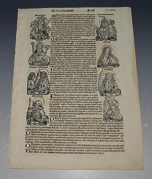 Original Woodcut Leaf of Bishops. LIBER CHRONICARUM-: Schedel, Hartmann; Wolgemuth,