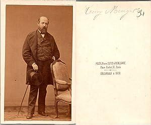 CDV Disdéri, Paris, Henry Murger, écrivain français,: Photographie originale /
