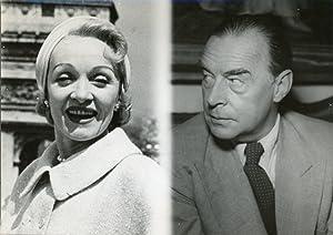Marlène Dietrich et Erich-Maria Remarque, écrivain, 1957: Photographie originale /