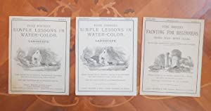 3x Vere Foster's  Simple Lessons in Water-Color, Lanscape Nr. I and II, 1883, and Painting for Be...