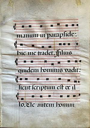 A Manuscript Antiphonal Leaf, Spain, 16th Century.: Antiphonal Music Leaf