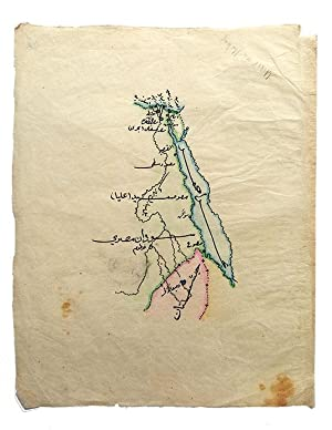 [EGYPT, HABES [ETHIOPIA], SUDAN AND RED SEA] Manuscript map on a tissue paper of Egypt, Ethiopia,...