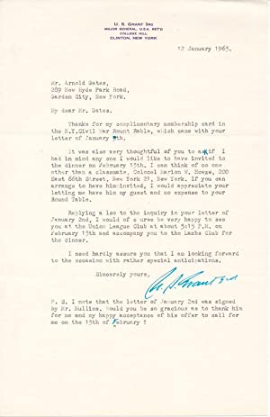 Typed Letter Signed / Autograph Note Signed: GRANT, Ulysses S.,