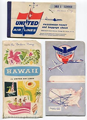 1957 United Airlines Hawaii Passenger Ticket Baggage Check in Continental Airlines Folder