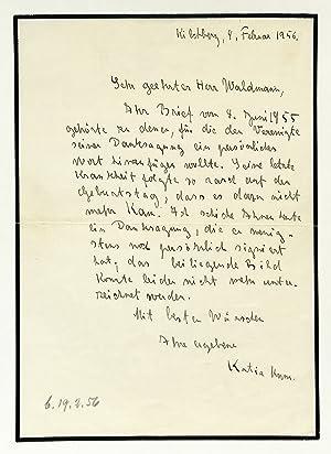 Eigenh. Brief mit U.: Mann, Katia, geb.