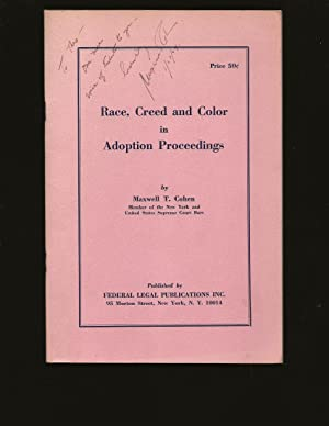 Race, Creed and Color in Adoption Proceedings (Only Copy) (Signed and inscribed to Theodore Bikel)