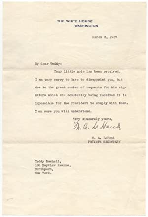 Typed Letter Signed to a Boy Seeking F.D.R.'s Autograph