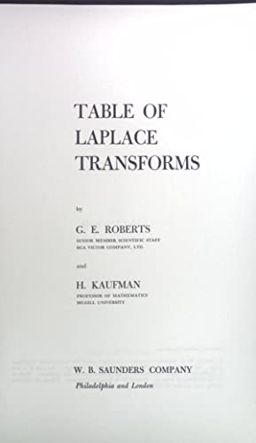 Table of Laplace Transforms: Roberts, G. E.