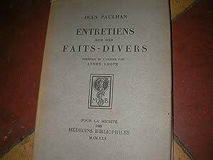 ENTRETIENS SUR DES FAITS-DIVERS: PAULHAN JEAN