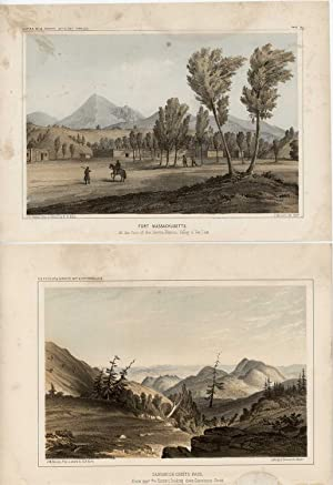 TWO USPRR COLOR LITHOGRAPHS: Fort Massachusetts. At the foot of the Sierra Blanca, Valley of San ...