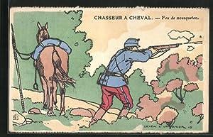 Künstler-Carte postale Chasseur a Cheval - Feu