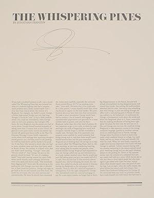 The Whispering Pines (Signed Broadside): FRANZEN, Jonathan