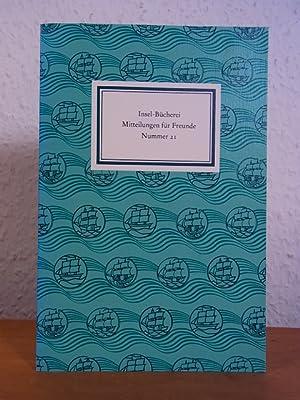 Insel-Bücherei. Mitteilungen für Freunde. Nummer 21, Frühjahr: Sarkowski, Heinz und