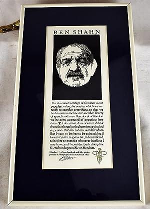 Ben Shahn on Freedom (Original signed print): Barry Moser