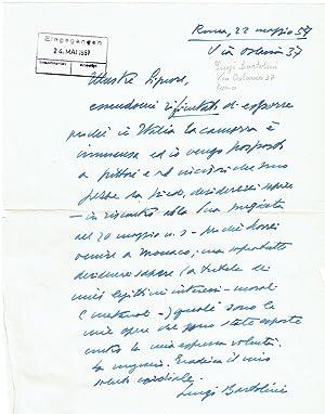 1 eigenh. Brief mit Unterschrift und 1: Bartolini, Luigi, italienischer