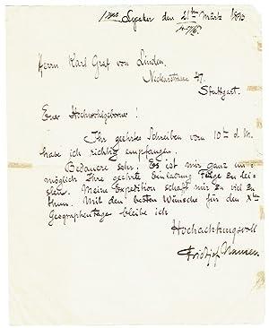 Eigenh. Brief mit Unterschrift.: Nansen, Fridtjof, norwegischer