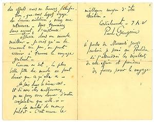 "Autograph letter signed (""Paul Gauguin"").: Gauguin, Paul, French"
