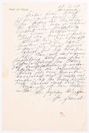 [ALS.] Sigmund Freud's Autograph Letter in German to Frau Wolff