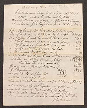 ACCOUNT AGAINST SQUIRE BIGALOW. $20.27. February 1851.: California Gold Rush