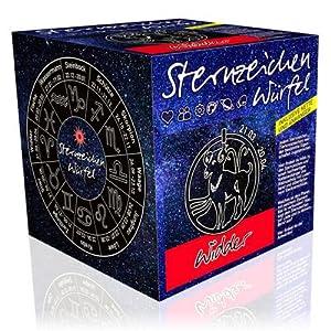 Sternzeichenwürfel Widder: Sternzeichen-Booklet und Sternzeichenanhänger am Lederband
