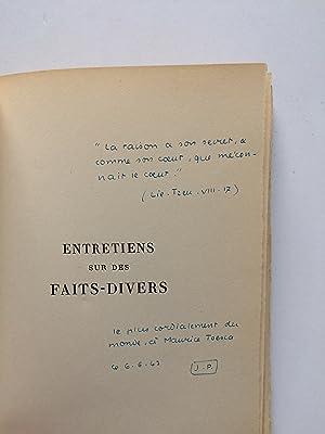 Entretiens sur des Faits-Divers [ ENVOI de: PAULHAN Jean