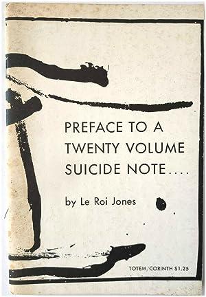 Preface to a Twenty Volume Suicide Note.: Jones, Le Roi