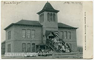 Real Photo Post Card (RPPC) of the First Public School Building in Casper Wyoming (Central School...