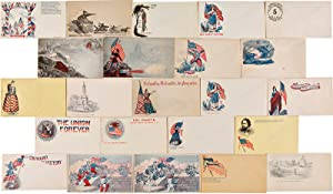 [SUBSTANTIAL COLLECTION OF 119 UNUSED CIVIL WAR-ERA PATRIOTIC POSTAL COVERS, ALL BUT ONE OF THEM ...