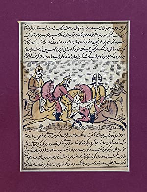 Handcoloured Persian lithograph illustration from an early janknama: 'Islamic soldier divides an ...
