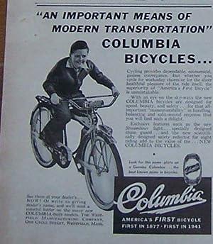 1941 COLUMBIA BICYCLES MAGAZINE ADVERTISEMENT: Advertisement