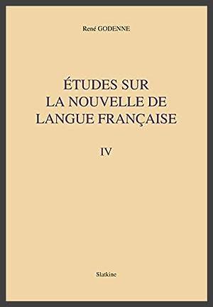 Etudes sur la nouvelle de langue française