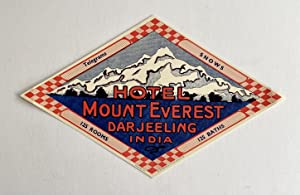 Original Vintage Luggage Label - Hotel Mount Everest, Darjeeling India