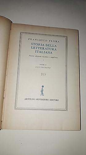 STORIA DELLA LETTERATURA ITALIANA - Volume IV-: Francesco Flora