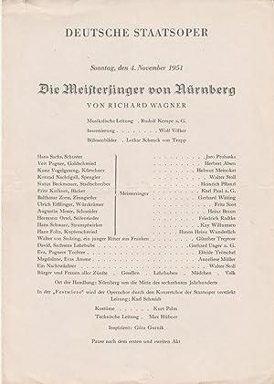 Theaterzettel Richard Wagner DIE MEISTERSINGER VON NÜRNBERG: Deutsche Staatsoper Berlin