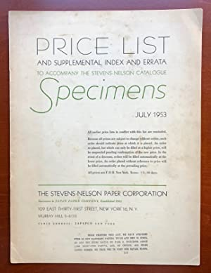 Price List and Supplemental Index and Errata: Stevens-Nelson Paper Corp.