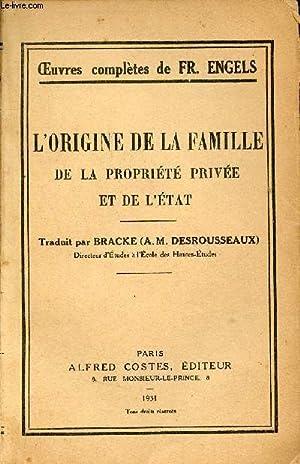 L'origine de la famille de la propriété: Fr.Engels