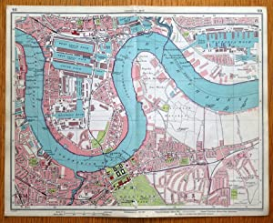 GREENWICH, ISLE OF DOGS, BLACKWALL,DEPTFORD London street plan, antique map 1930