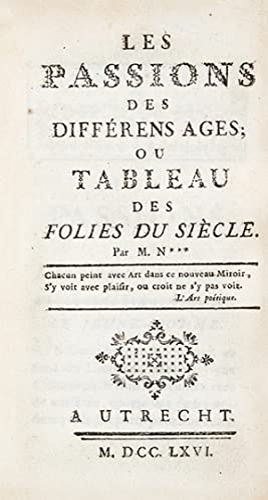 1- [NOUGARET (Pierre-Jean-Baptiste)]. Les Passions des différens: NOUGARET (Pierre-Jean-Baptiste), LA