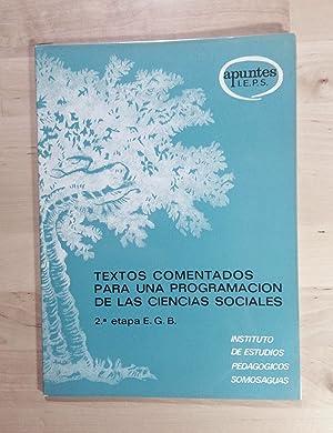 Textos comentados para una programación de las: Instituto de Estudios