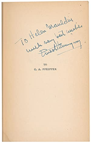 """Hemingway Signed Wartime Classic """"A Farewell to: Hemingway, Ernest"""