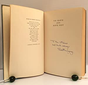 """Hemingway Signed Book """"To Have and Have: Hemingway, Ernest"""