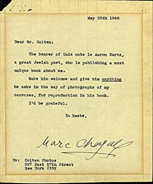 Chagall Typed Letter Signed: Chagall, Marc