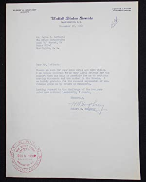 Typed letter, signed by Hubert Humphrey as U.S. Senator, to Bryan F. LaPlante