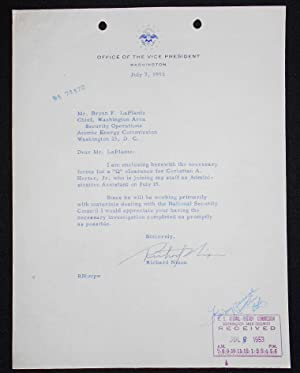 Typed letter, signed, on Office of the Vice President letterhead, regarding Christian A. Herter, Jr.