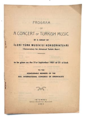 [CLASSICAL TURKISH MUSICAL SHOW FOR THE ORIENTALISTS] Program of a concert of Turkish music by a ...