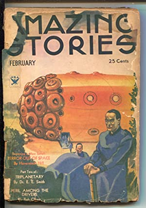 Amazing Stories 2/1934-Rocket cover-'Terror Out Of Space'-E.E.